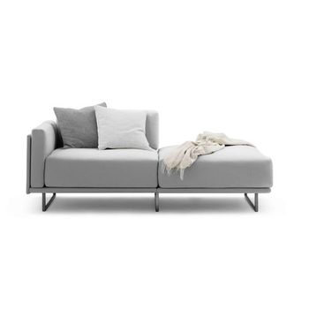 Contemporary Modular Sofa Stainless Steel Frame Cotton Leather