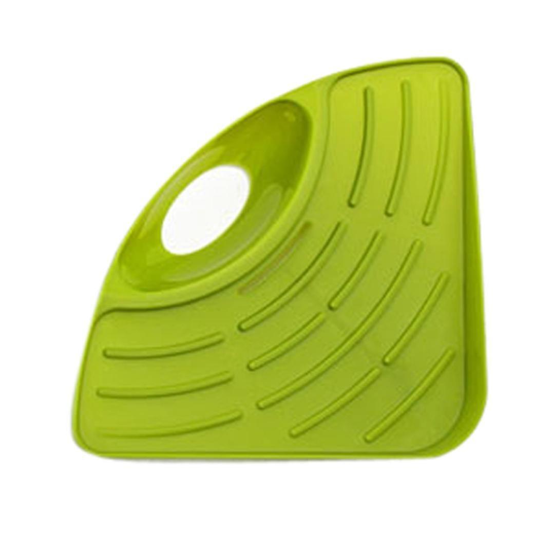 Triangular Shelf Euone Sponges Kitchen Sink Corner Shelf Wall Cuisine Dish  Rack Drain (Green)