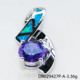 Different Colors CZ match Blue Fire Australian Opal Pendant in Sterling Silver