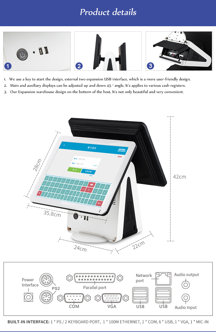 pos terminal 15 touch screen pos system price/pos terminal/cash register dual screen