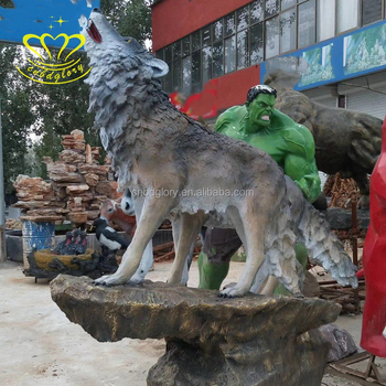 China suppliers New product fiberglass howling wolf statue sculpture for sale