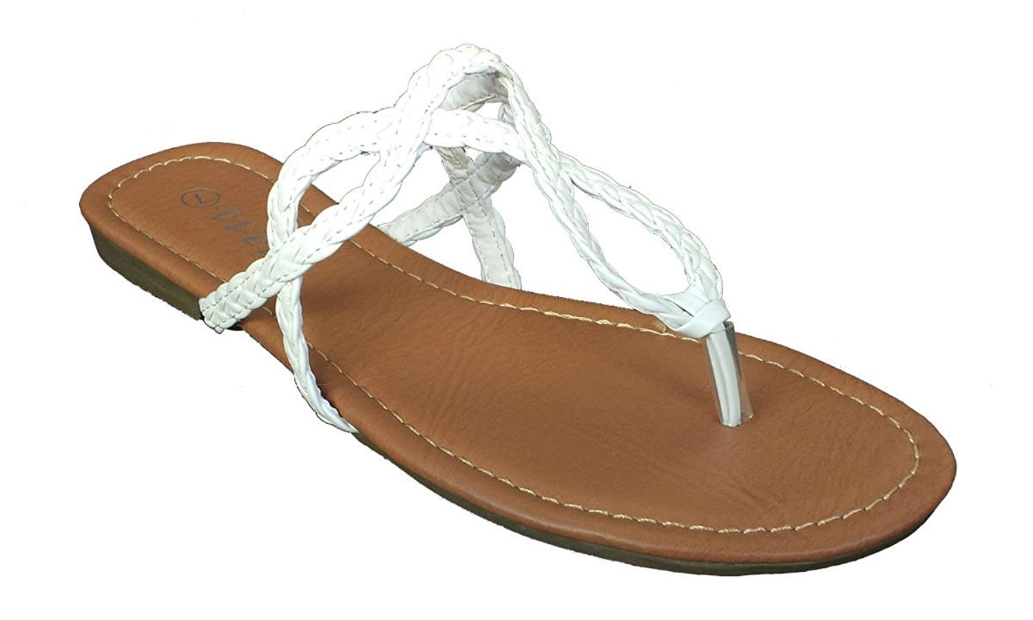 Elegant Women's Fashion Braided Straps White Color Flip Flop Sandals