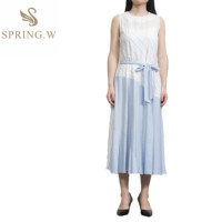 2019SS Stripes long dress shell belt Fashionable elegant affordable Mid-calf sleeveless high quality quality assurance