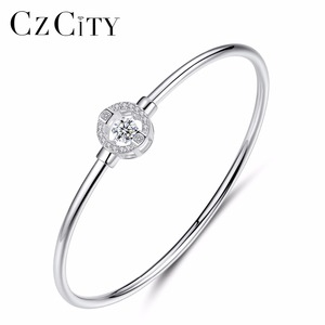 CZCITY Fashion Round Shape AAA Cubic Zircon Female 925 Sterling Silver Bangle For Women Bangles Fashion Fine Jewelry Silver