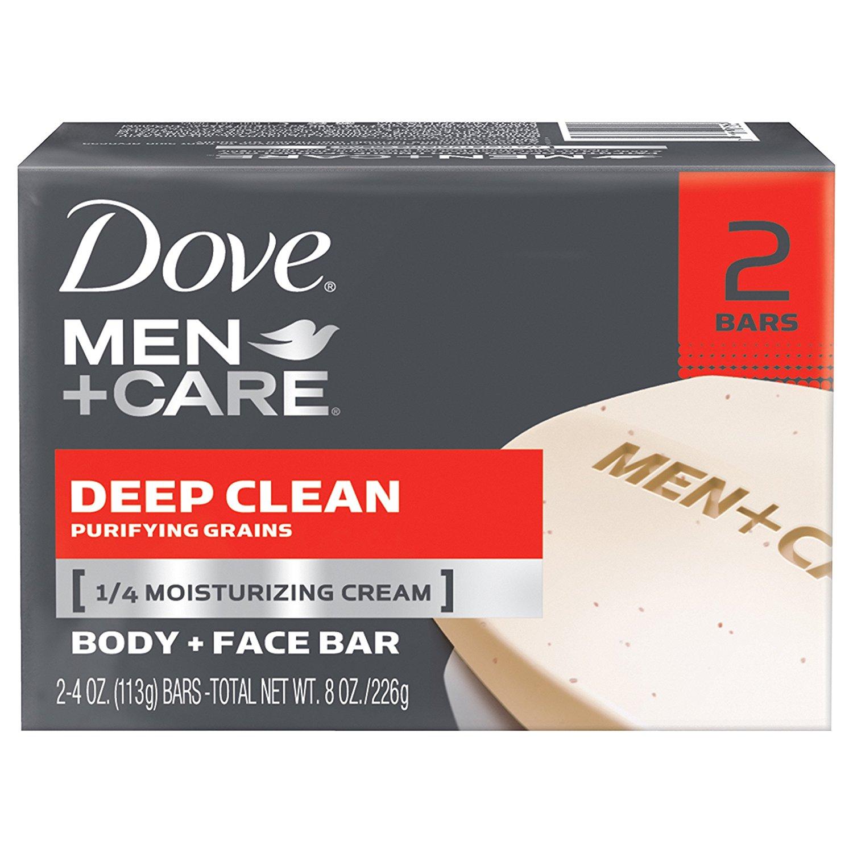 Dove Men+Care Body and Face Bar, Deep Clean 4 oz, 2 Bar