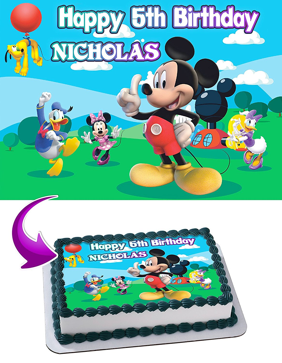 19b3314190de Get Quotations · Mickey Mouse Clubhouse Birthday Cake Personalized Cake  Toppers Edible Frosting Photo Icing Sugar Paper A4 Sheet