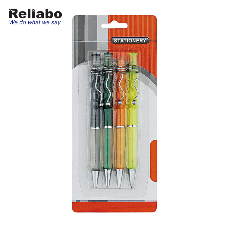 Reliabo Direto Da Fábrica Por Atacado Promocional Non-slip Grip Multi Color Plastic Ball Pen Set