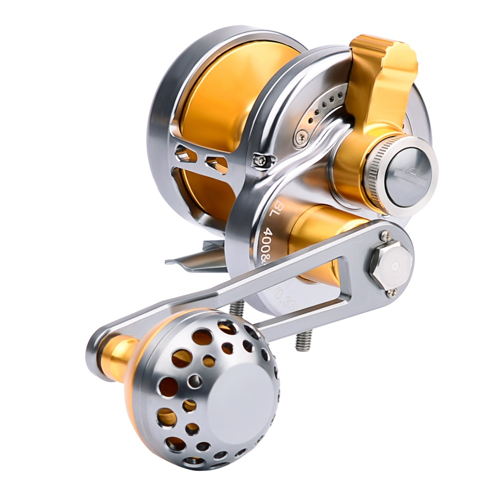 PRO BEROS Trolling Reels Aluminum CNC Machined Fishing Reel Sea Boat Jigging Reel Right/Left Handle, Silver