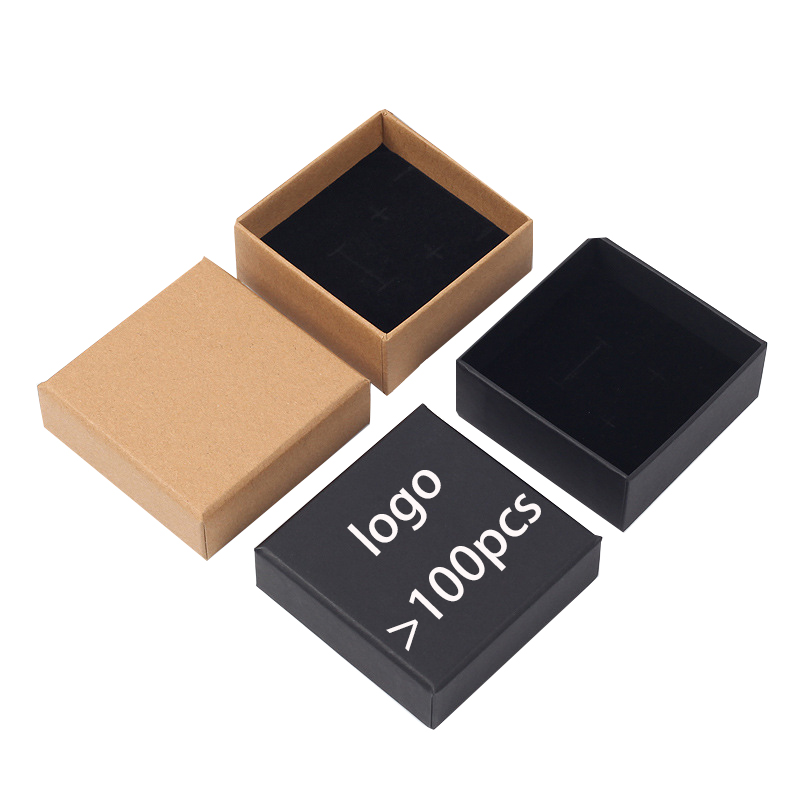 ready to ship logo print black kraft paper jewelry packaging ring boxes