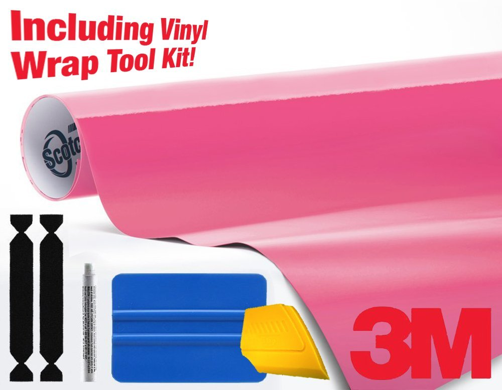 3M 1080 Gloss Hot Pink Vinyl Wrap Roll Including Toolkit (1ft x 5ft)
