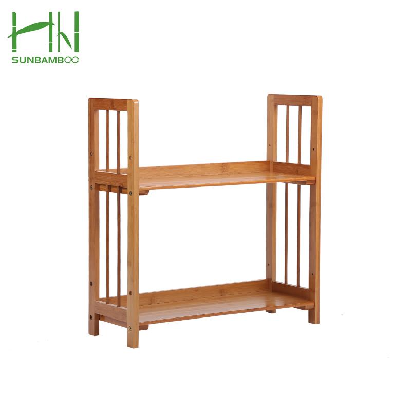 Ursprüngliche Farbe Minisize Bambus Zwei-Regal Bücherregal 4 Regale Ladder-förmigen Bücherregal