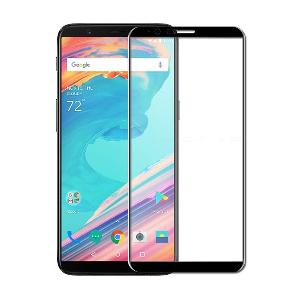 OnePlus 5T Screen Protector, Full Coverage 9H Hardness Tempered Glass Scratch Proof Screen Protector Anti-Bubble Film for One Plus 5T 2017 Released, BLACK
