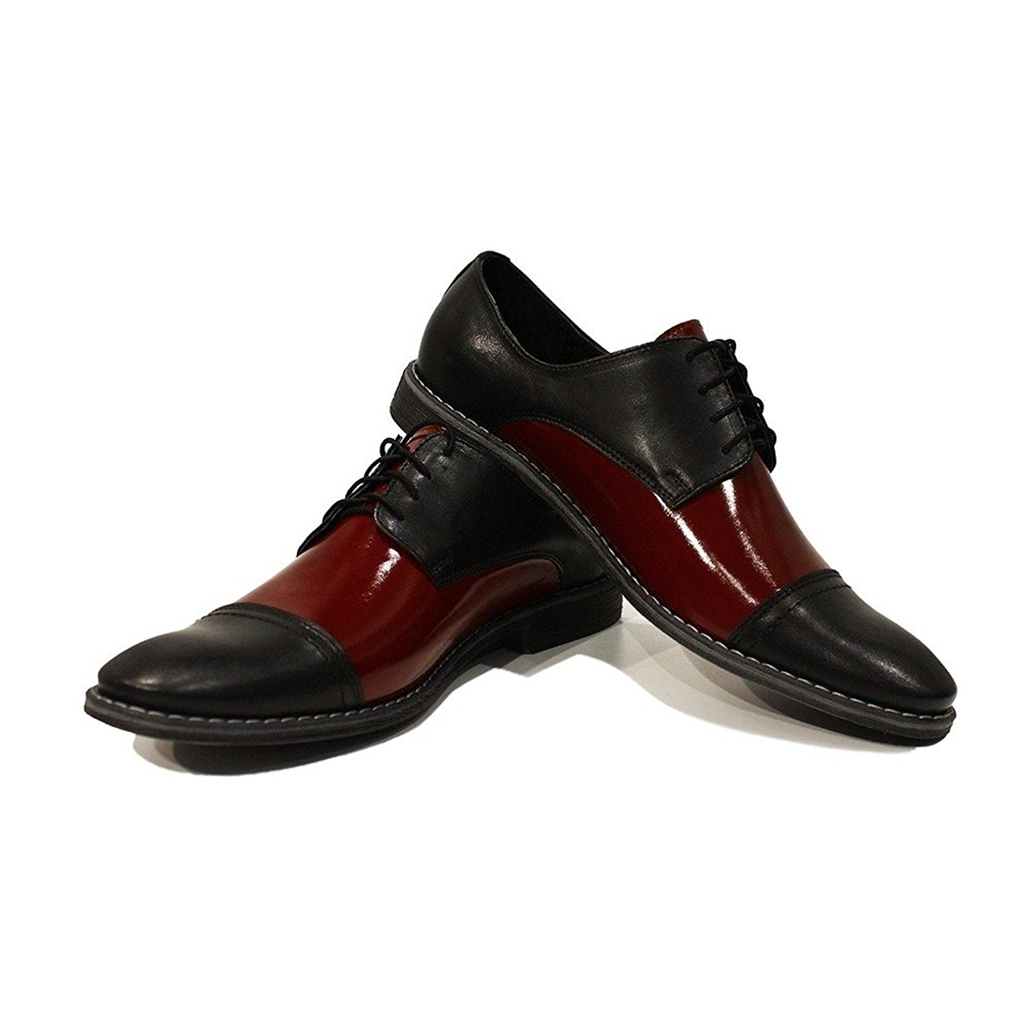 Modelo Maurizio - Handmade Italian Mens Burgundy Oxfords Dress Shoes - Cowhide Patent Leather - Lace-up