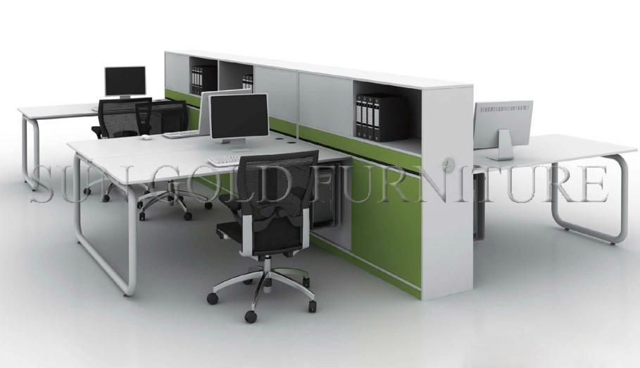 modern used office desk types 4 person office workstation screen sz