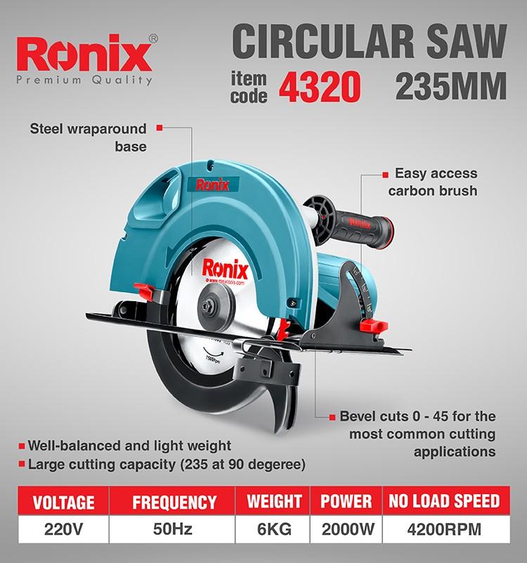Ronix 4320 235 мм Профессиональный круговой пильный диск, мини-циркулярная пила