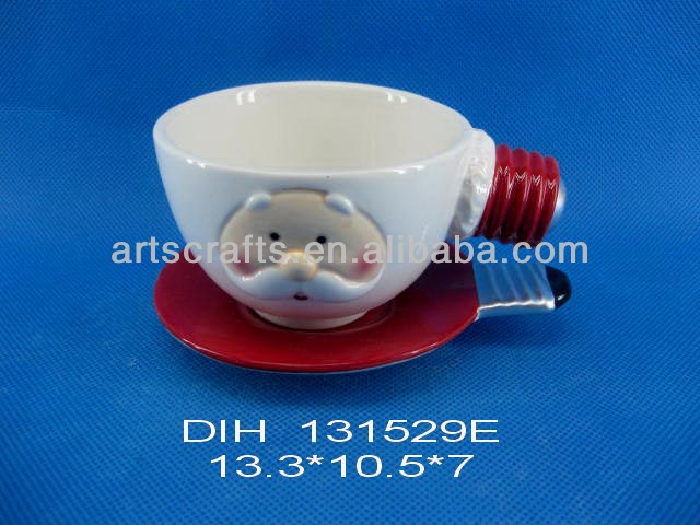 Funny shaped ceramic cup and saucer set