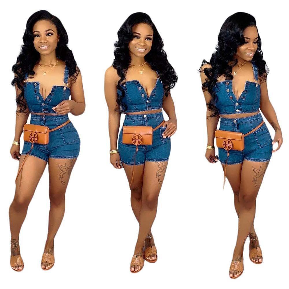 2020 Summer fashion two pieces denim jeans women short sets FM-S3536