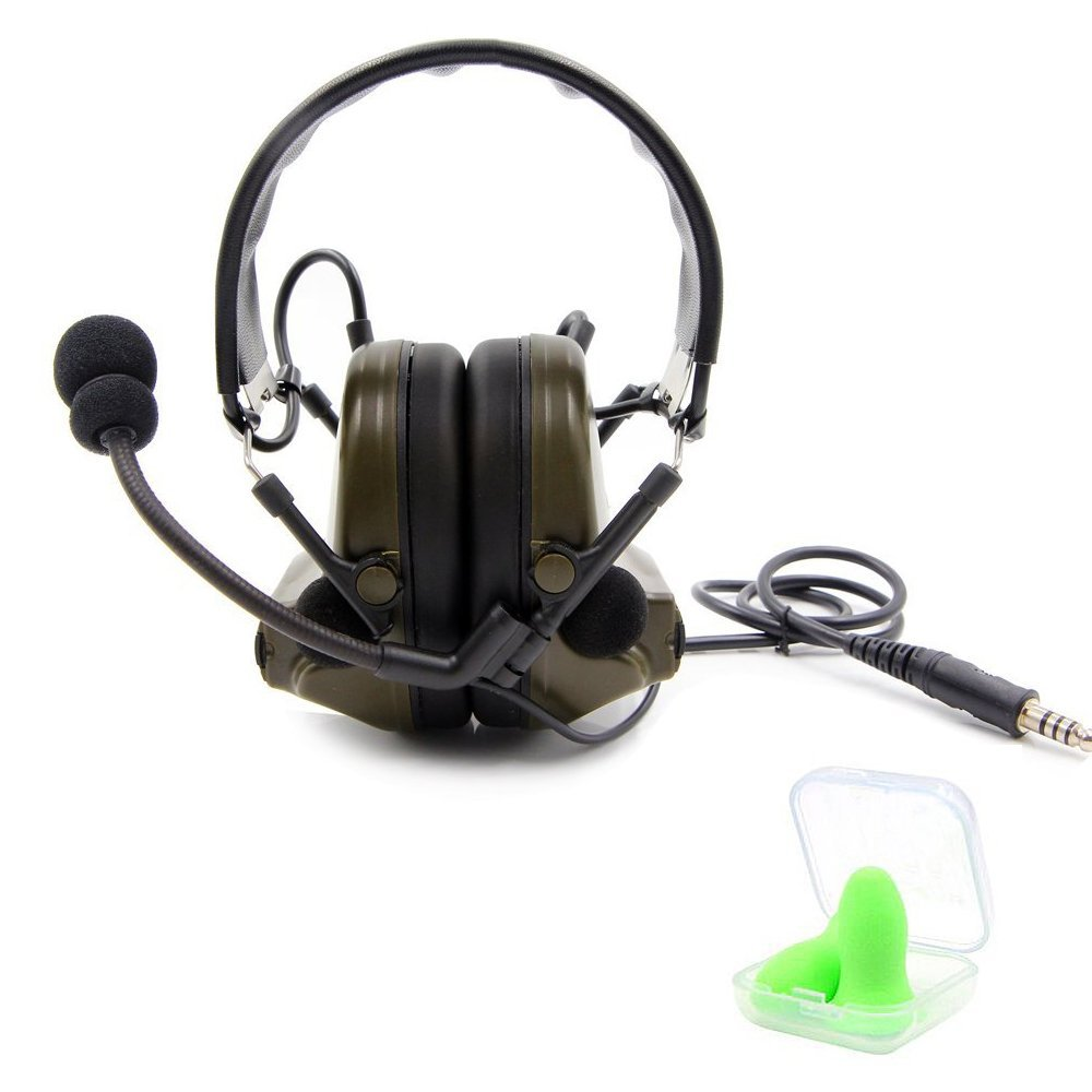 TOENNESEN Tactical Headset, Electronic Headphones with Microphone - Noise Reduction and Sound Pickup Safety Ear Muffs for PPT, Military Radio, Airport