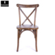Antique Oak Wood Stackable Vineyard French X Back Side Cross Back Chair