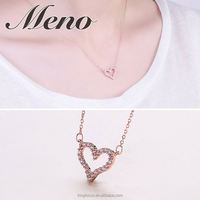 Meno S925 silver heart shaped CZ setting necklace- white fashion necklace