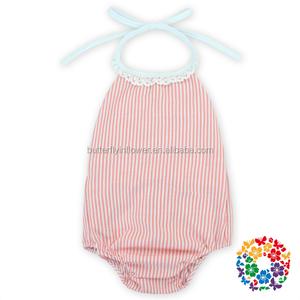 f30e75909669 wholesale newborn infant clothes seersucker fabric baby romper suit kids  baby bubble halter romper