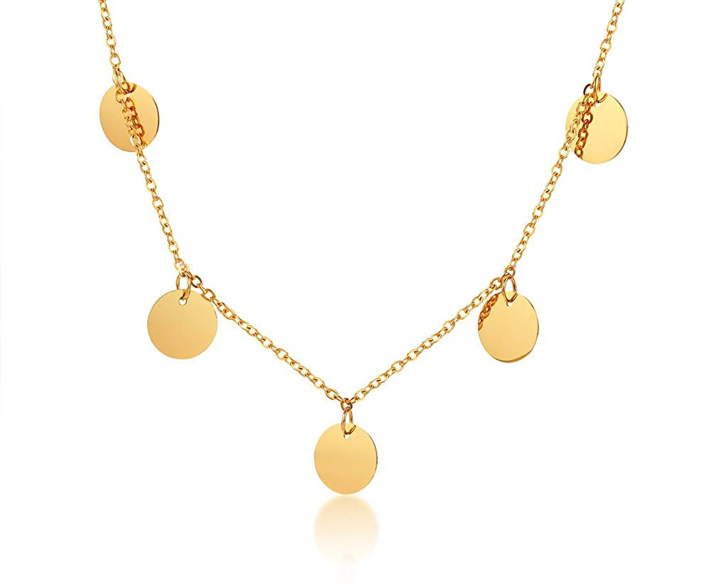 d616d199d Get Quotations · Gold Plated Stainless Steel Fashion Minimal Dangly Gold  Coin Round Disc Choker Necklace for Women Girl