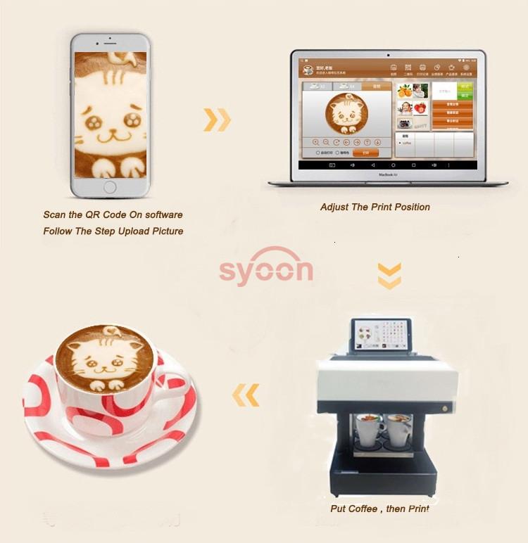 뜨거운 판매 커피 프린터 자동 Selfie 거품 우유 커피 인쇄 기계 식용 잉크