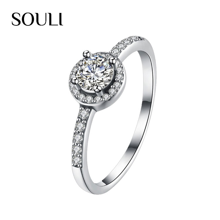 Jewelry Rings Women S925 Sterling Silver CZ Diamond Engagement Ring