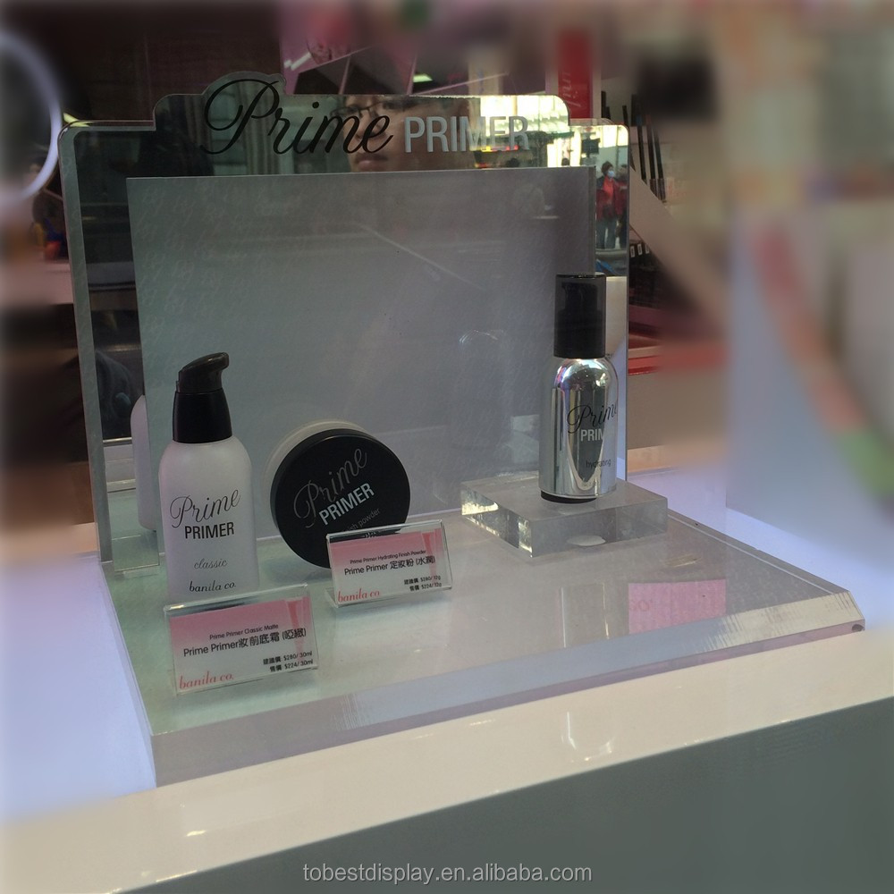 Latest customized High-end Acrylic Pmma cosmetic countertop display, makeup countertop display,