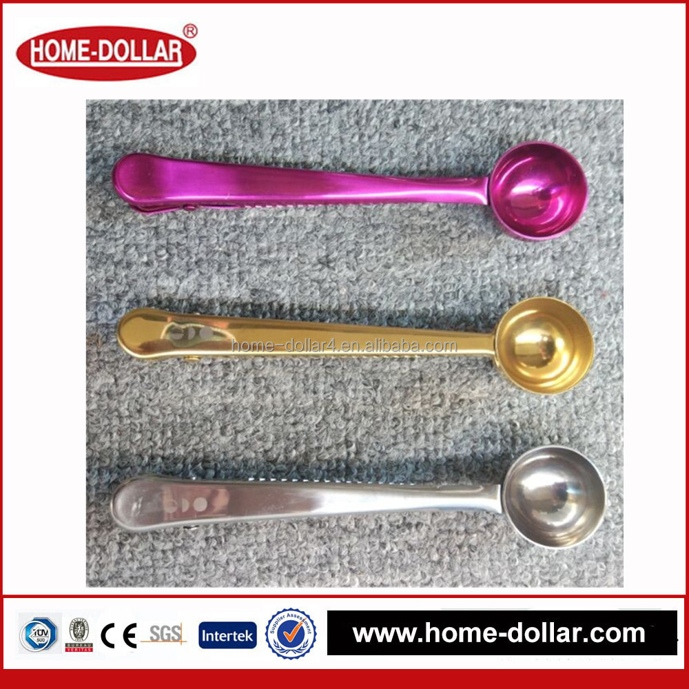 Housewares solutions pour over coffee dripper stainless steel food sealing clip coffe spoon with bag clip