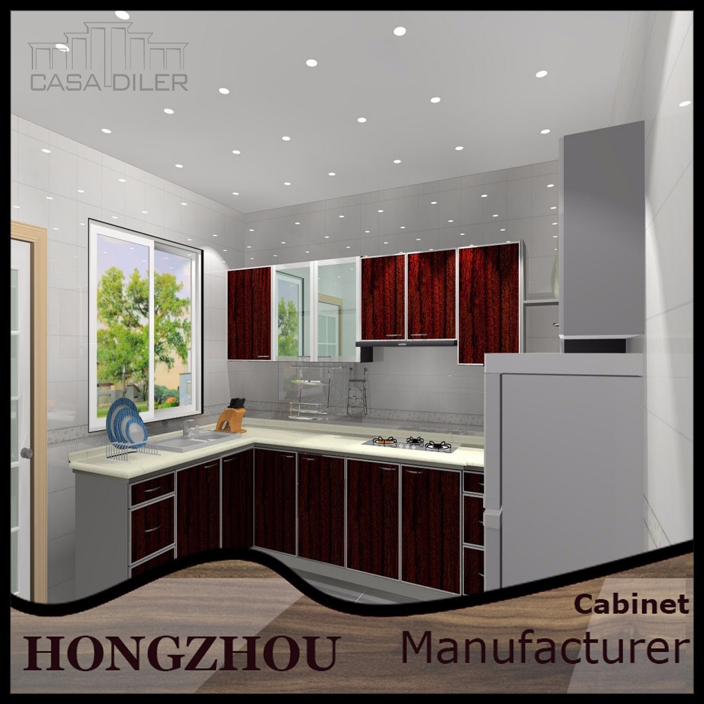 High Kitchen Cabinets: Red Mdf High Gloss Kitchen Cabinet