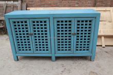 Chinese antique solid wood painted buffet sideboard Blue White Natural wood cabinet