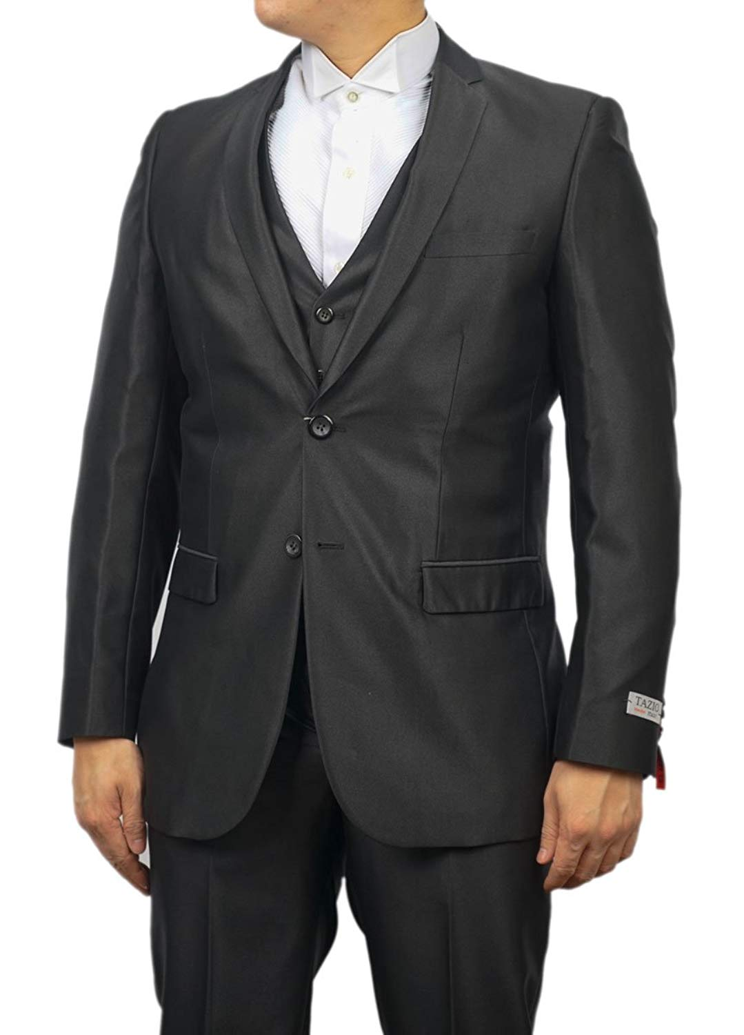 TAZIO New Mens 3 Pc (Jacket, Pants & Vest) Shiny Gray Sharkskin Slim Fit Dress Suit (50L)