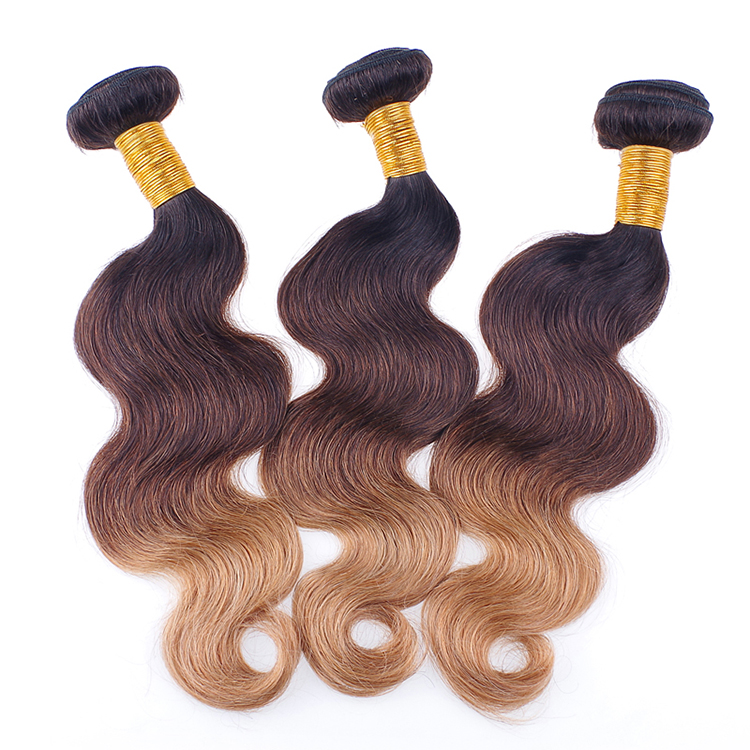 Good Feedbacks 100% Natural Hair Three Tone 8A Ombre Hair Extension 1B/4/27 Braiding Hair