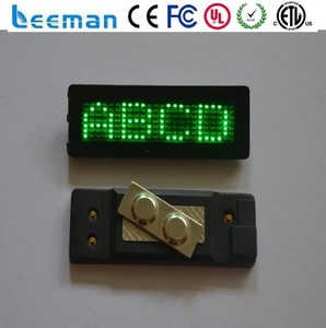 Leeman Group led name badge led name badge display/led name tag/mini led mobile sign,rechargeable led name tag display