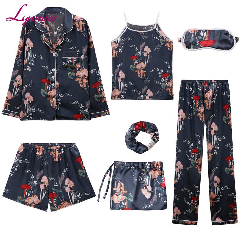 LY217 Women Silk Satin Printing Pajamas 7pcs Long Sleeve Loungewear Pajamas Women Sleepwear PJ Sets фото