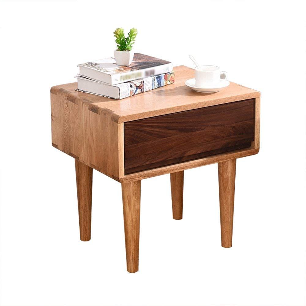 AiHerb.LT nightstand Solid Wood Bedside Table White Oak Storage Locker Bedroom Bedside Cabinet