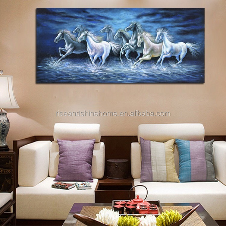 Wholesale dropshipping modern animal horse handpainted decorative oil painting on canvas