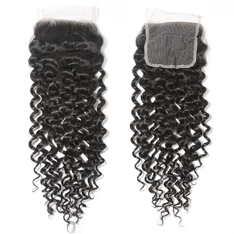 "Free Shipping Remy Hair Brazilian Curly Wave Closure Swiss Lace Middle Part Human Hair Lace Closure 1 Piece 8""-20"""