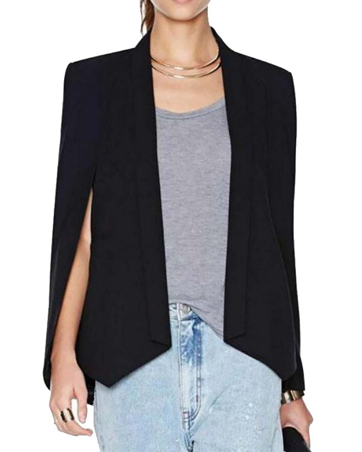 9ea861f49f3 Get Quotations · MLG Womens Office Fitted Cloak Slit Sleeve Blazer Suits  Cape Coat