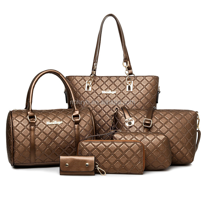 New designer best selling 6 pcs in 1 set bags women high quality lady handbag set with wholesale price