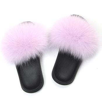 women shoes fur customized luxury fox fur sandals cheap fur slides
