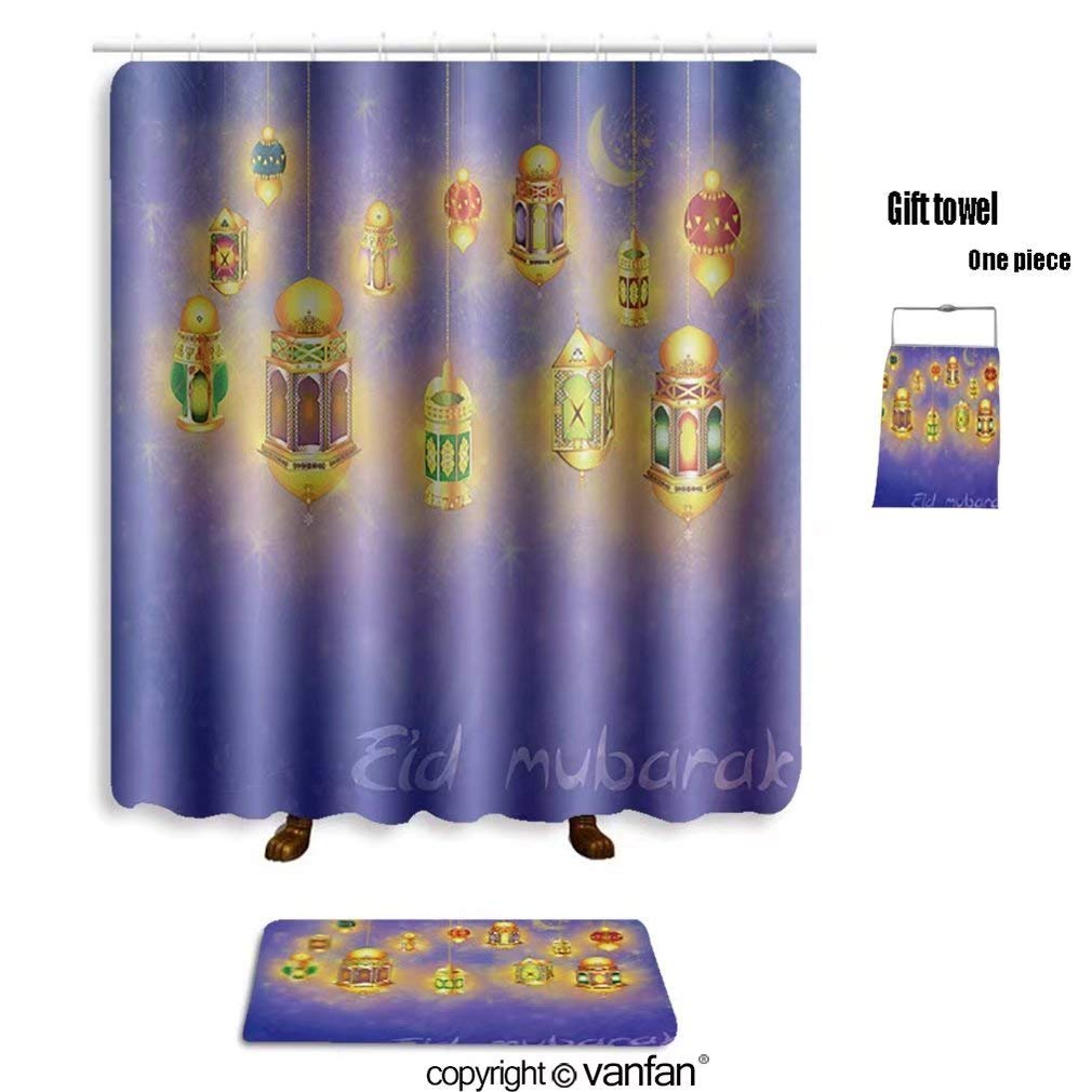 vanfan bath sets Polyester rugs shower curtain islamic muslim holiday blessing background shower curtains sets bathroom 69 x 84 inches&31.5 x 19.7 inches(Free 1 towel 12 hooks)