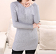 handmade cable knitted round neck fitting tight sweater tunic dress