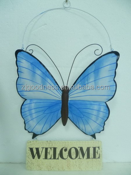 WELCOME BUTTERFLY OUTDOOR METAL WALL SIGN