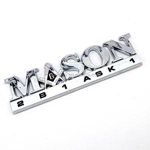 Auto design plastic ABS chrome 3D logo letter masonic emblem custom masonic  car emblems wholesale