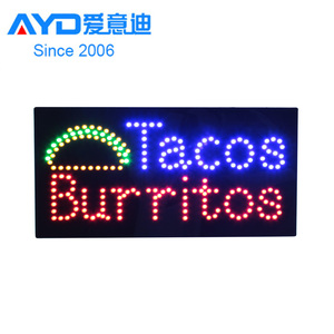 Hidly 12*24'' Tacos Burritos LED Open Sign, Super Bright LED Display Board Advertising Acrylic LED Sign
