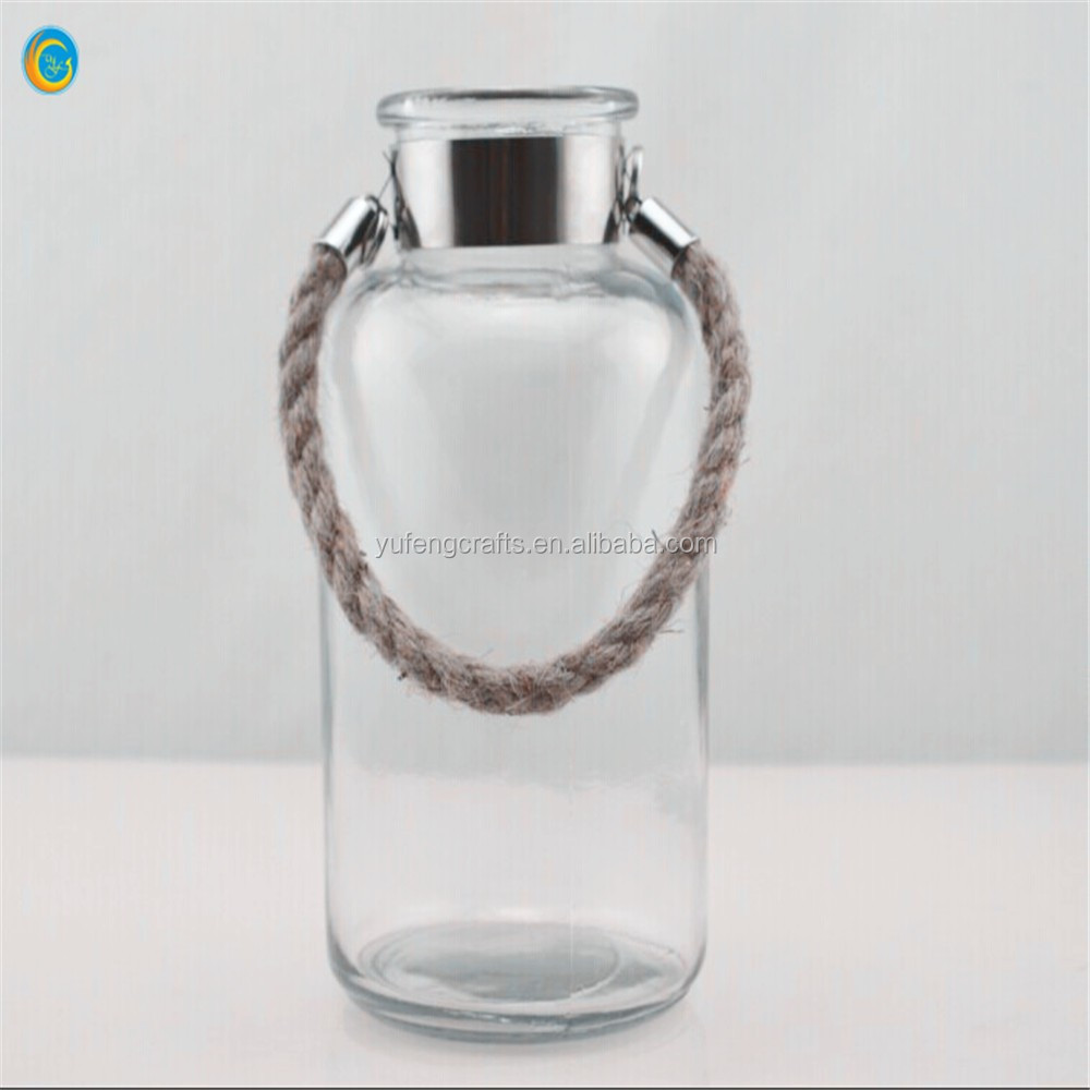 New clear hanging glass vases glass candle jars for flowers and candles