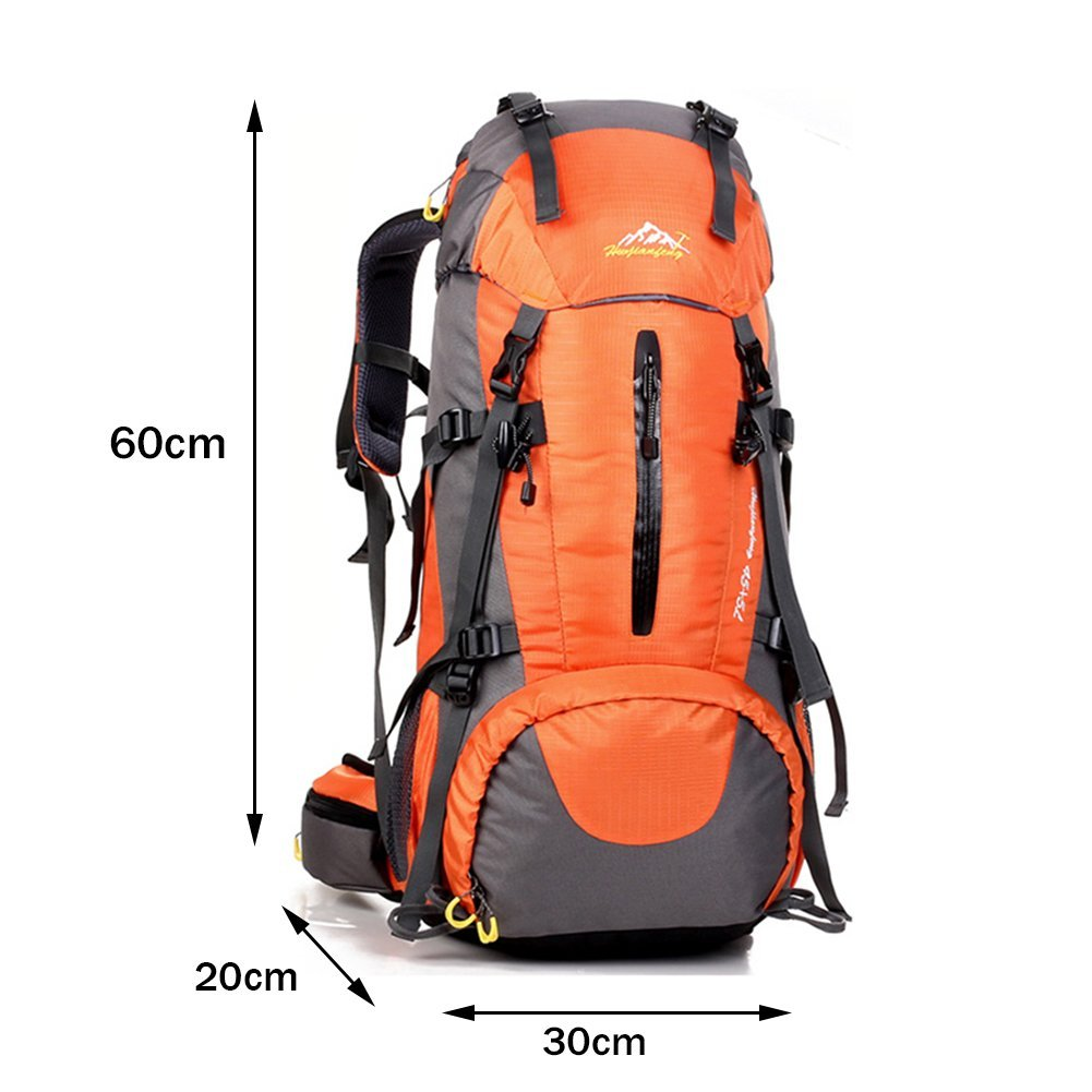 Holidayli 50L(45+5L)Lightweight Hiking Backpack Waterproof Outdoor Sport Camping Travel Daypack Compact Trekking Bag for Climbing / Camping / Hiking / Travel/ Mountaineering with Rain Cover