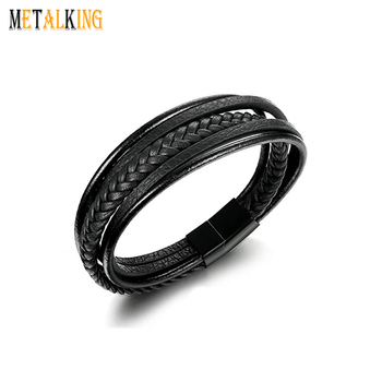 ba3900440c242 Mens Black Braided Leather Bracelet for Men Bangle Wrap with Stainless  Steel Magnetic Clasp, View braided leather bracelet, Metalking, Metalking  ...